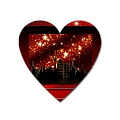 City Silhouette Christmas Star Heart Magnet by Nexatart