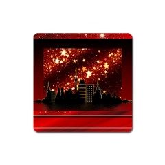 City Silhouette Christmas Star Square Magnet by Nexatart