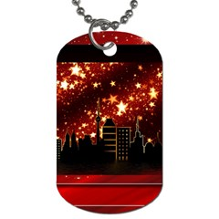 City Silhouette Christmas Star Dog Tag (two Sides) by Nexatart