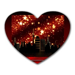 City Silhouette Christmas Star Heart Mousepads by Nexatart