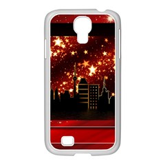 City Silhouette Christmas Star Samsung Galaxy S4 I9500/ I9505 Case (white) by Nexatart