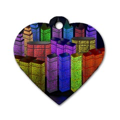 City Metropolis Sea Of Light Dog Tag Heart (one Side) by Nexatart