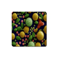 Colorized Pollen Macro View Square Magnet by Nexatart