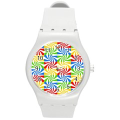 Colorful Abstract Creative Round Plastic Sport Watch (m)
