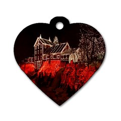 Clifton Mill Christmas Lights Dog Tag Heart (one Side) by Nexatart