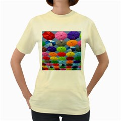 Color Umbrella Blue Sky Red Pink Grey And Green Folding Umbrella Painting Women s Yellow T Shirt