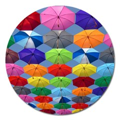Color Umbrella Blue Sky Red Pink Grey And Green Folding Umbrella Painting Magnet 5  (round) by Nexatart