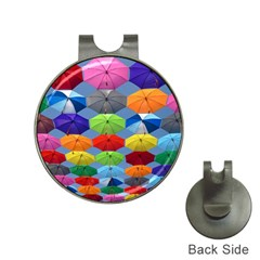 Color Umbrella Blue Sky Red Pink Grey And Green Folding Umbrella Painting Hat Clips With Golf Markers by Nexatart