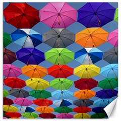 Color Umbrella Blue Sky Red Pink Grey And Green Folding Umbrella Painting Canvas 16  X 16