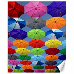 Color Umbrella Blue Sky Red Pink Grey And Green Folding Umbrella Painting Canvas 16  X 20