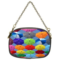Color Umbrella Blue Sky Red Pink Grey And Green Folding Umbrella Painting Chain Purses (one Side)  by Nexatart