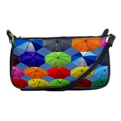 Color Umbrella Blue Sky Red Pink Grey And Green Folding Umbrella Painting Shoulder Clutch Bags by Nexatart