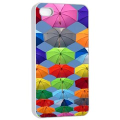 Color Umbrella Blue Sky Red Pink Grey And Green Folding Umbrella Painting Apple Iphone 4/4s Seamless Case (white)