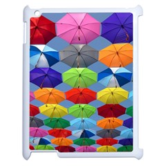 Color Umbrella Blue Sky Red Pink Grey And Green Folding Umbrella Painting Apple Ipad 2 Case (white) by Nexatart
