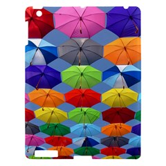 Color Umbrella Blue Sky Red Pink Grey And Green Folding Umbrella Painting Apple Ipad 3/4 Hardshell Case