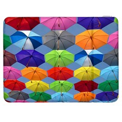 Color Umbrella Blue Sky Red Pink Grey And Green Folding Umbrella Painting Samsung Galaxy Tab 7  P1000 Flip Case