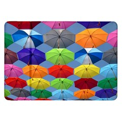 Color Umbrella Blue Sky Red Pink Grey And Green Folding Umbrella Painting Samsung Galaxy Tab 8 9  P7300 Flip Case