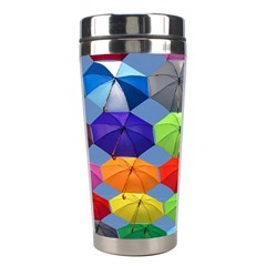 Color Umbrella Blue Sky Red Pink Grey And Green Folding Umbrella Painting Stainless Steel Travel Tumblers