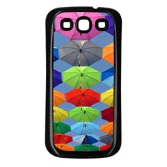 Color Umbrella Blue Sky Red Pink Grey And Green Folding Umbrella Painting Samsung Galaxy S3 Back Case (black) by Nexatart