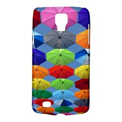 Color Umbrella Blue Sky Red Pink Grey And Green Folding Umbrella Painting Galaxy S4 Active by Nexatart