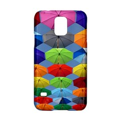 Color Umbrella Blue Sky Red Pink Grey And Green Folding Umbrella Painting Samsung Galaxy S5 Hardshell Case