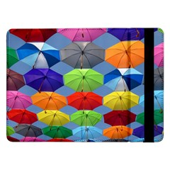 Color Umbrella Blue Sky Red Pink Grey And Green Folding Umbrella Painting Samsung Galaxy Tab Pro 12 2  Flip Case