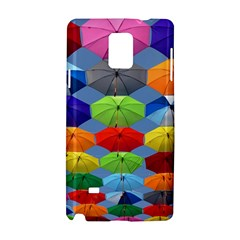 Color Umbrella Blue Sky Red Pink Grey And Green Folding Umbrella Painting Samsung Galaxy Note 4 Hardshell Case