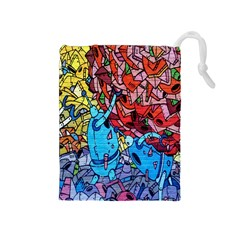 Colorful Graffiti Art Drawstring Pouches (medium)  by Nexatart