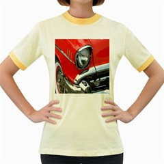 Classic Car Red Automobiles Women s Fitted Ringer T Shirts