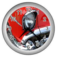 Classic Car Red Automobiles Wall Clocks (silver)  by Nexatart