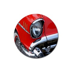 Classic Car Red Automobiles Rubber Round Coaster (4 Pack)