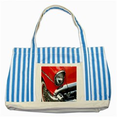 Classic Car Red Automobiles Striped Blue Tote Bag by Nexatart