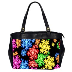 Colourful Snowflake Wallpaper Pattern Office Handbags (2 Sides)  by Nexatart