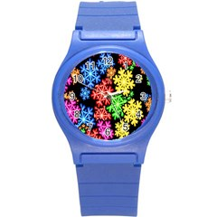 Colourful Snowflake Wallpaper Pattern Round Plastic Sport Watch (s) by Nexatart