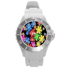 Colourful Snowflake Wallpaper Pattern Round Plastic Sport Watch (l) by Nexatart