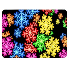 Colourful Snowflake Wallpaper Pattern Samsung Galaxy Tab 7  P1000 Flip Case by Nexatart