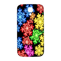 Colourful Snowflake Wallpaper Pattern Samsung Galaxy S4 I9500/i9505  Hardshell Back Case by Nexatart