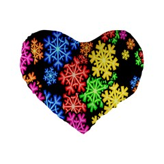 Colourful Snowflake Wallpaper Pattern Standard 16  Premium Flano Heart Shape Cushions by Nexatart