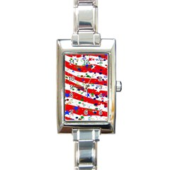 Confetti Star Parade Usa Lines Rectangle Italian Charm Watch by Nexatart