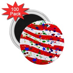 Confetti Star Parade Usa Lines 2 25  Magnets (100 Pack)  by Nexatart