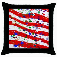Confetti Star Parade Usa Lines Throw Pillow Case (black)