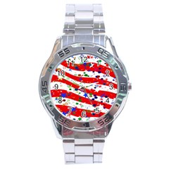 Confetti Star Parade Usa Lines Stainless Steel Analogue Watch by Nexatart