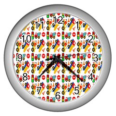 Construction Pattern Background Wall Clocks (silver)