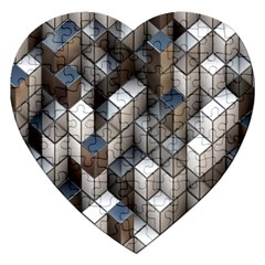 Cube Design Background Modern Jigsaw Puzzle (heart)