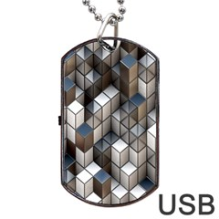 Cube Design Background Modern Dog Tag Usb Flash (two Sides) by Nexatart
