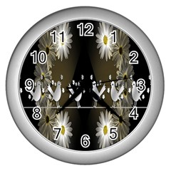 Daisy Bird  Wall Clocks (silver)  by Nexatart