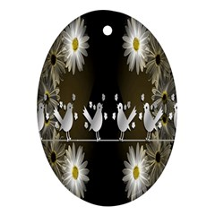 Daisy Bird  Oval Ornament (two Sides) by Nexatart