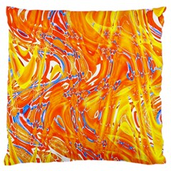 Crazy Patterns In Yellow Large Cushion Case (one Side) by Nexatart