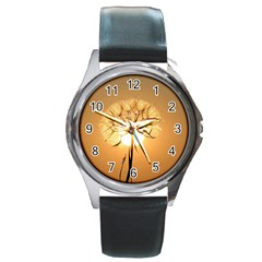 Dandelion Sun Dew Water Plants Round Metal Watch