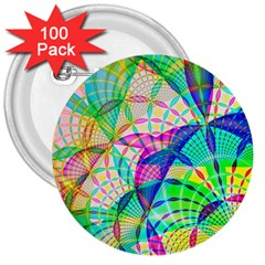 Design Background Concept Fractal 3  Buttons (100 Pack)